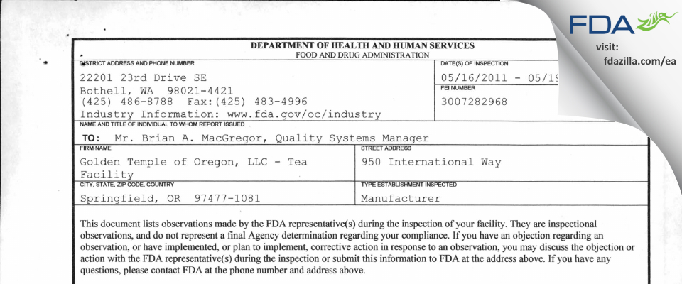 East West Tea Company FDA inspection 483 May 2011
