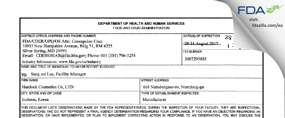 Handock Cosmetics FDA inspection 483 Sep 2017