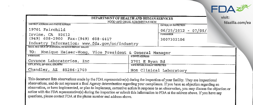Covance Labs FDA inspection 483 Jul 2012