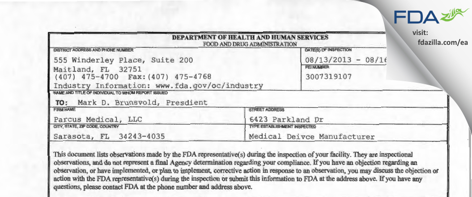 Parcus Medical FDA inspection 483 Aug 2013