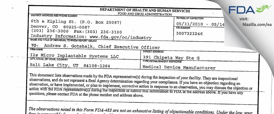 Blackrock Microsystems FDA inspection 483 May 2010