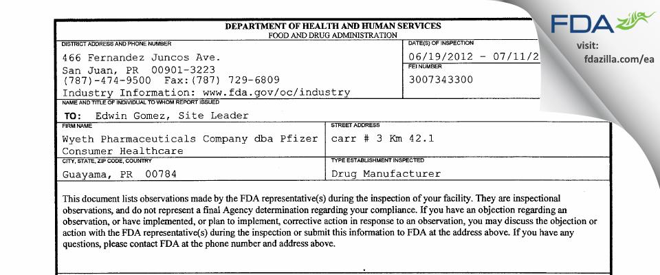 Wyeth Pharmaceuticals Company dba Pfizer Consumer Healthcare FDA inspection 483 Jul 2012