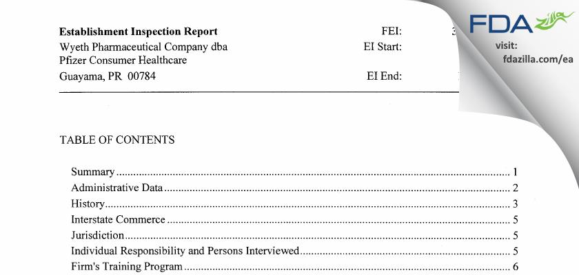 Wyeth Pharmaceuticals Company dba Pfizer Consumer Healthcare FDA inspection 483 Nov 2014