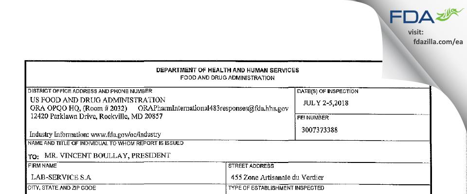 Lab-Service FDA inspection 483 Jul 2018
