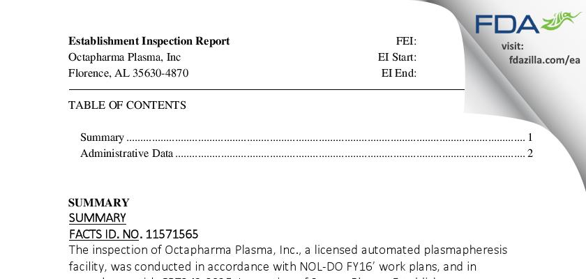 Octapharma Plasma FDA inspection 483 Jan 2016