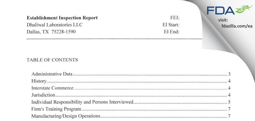 Dhaliwal Labs FDA inspection 483 Jun 2014