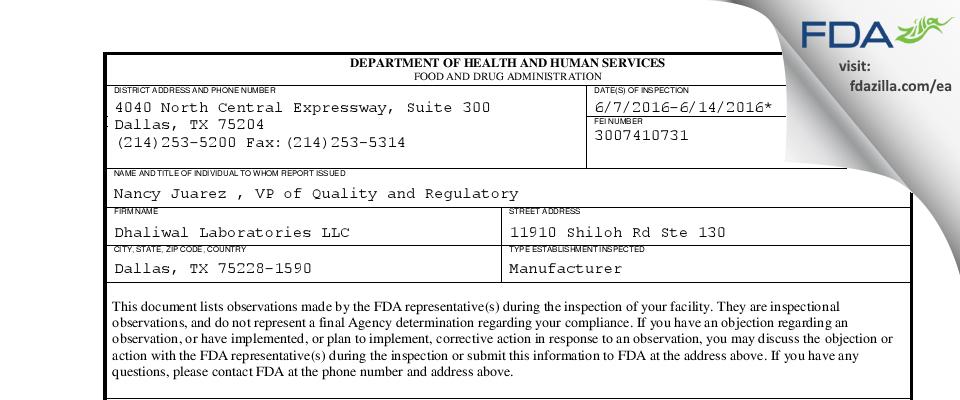 Dhaliwal Labs FDA inspection 483 Jun 2016