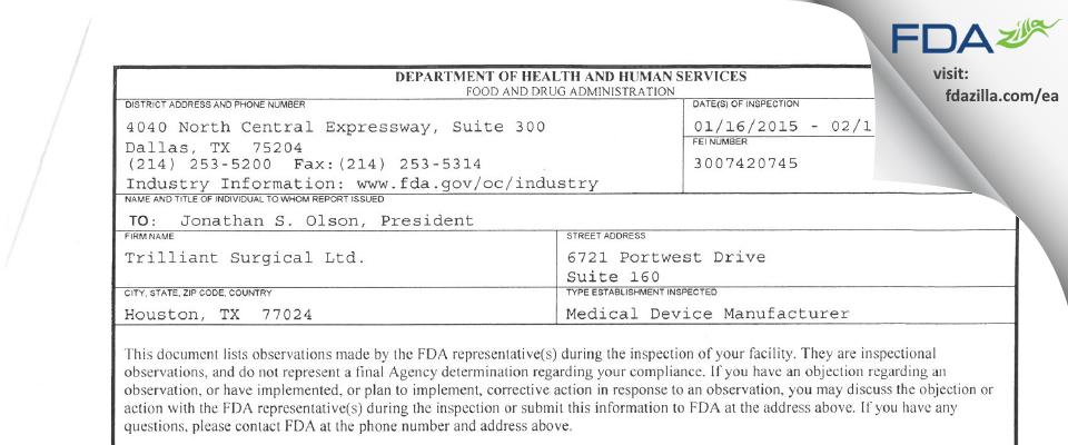 Trilliant Surgical FDA inspection 483 Feb 2015
