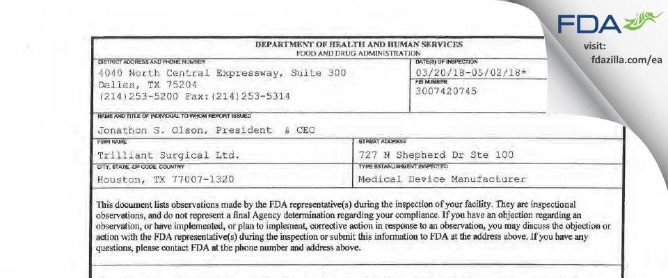 Trilliant Surgical FDA inspection 483 May 2018