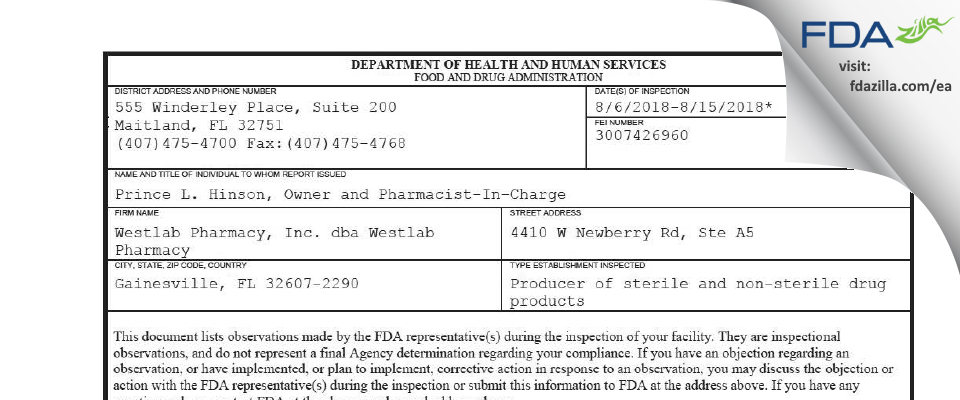 Westlab Pharmacy dba Westlab Pharmacy FDA inspection 483 Aug 2018