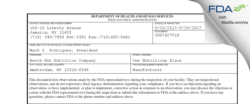 Beechnut Nutrition FDA inspection 483 Sep 2017