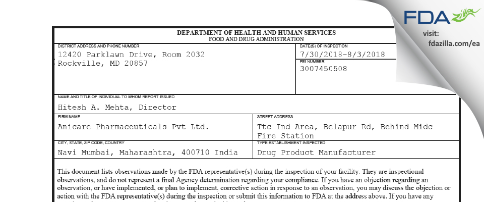 Anicare Pharmaceuticals FDA inspection 483 Aug 2018