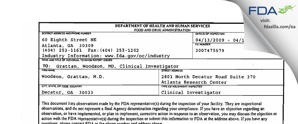 Woodson, Grattan, M.D. FDA inspection 483 Apr 2009