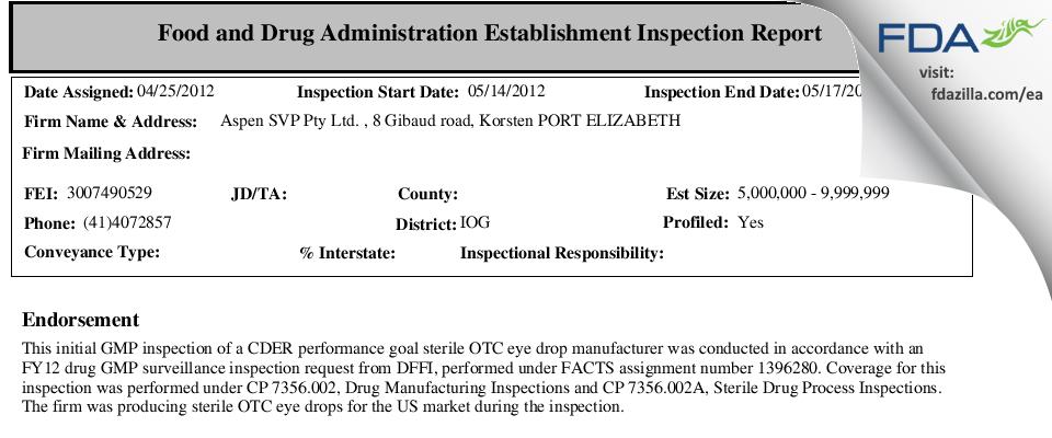 Aspen SVP Pty FDA inspection 483 May 2012