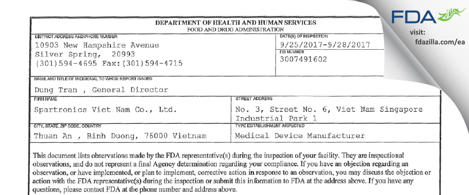 Spartronics Viet Nam FDA inspection 483 Sep 2017