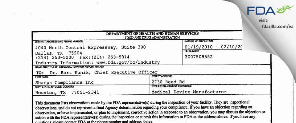 Sharps Compliance FDA inspection 483 Feb 2010