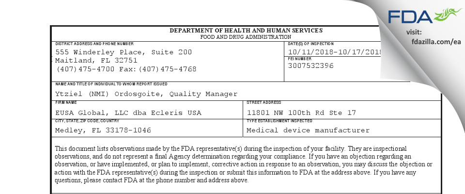 EUSA Global dba Ecleris USA FDA inspection 483 Oct 2018