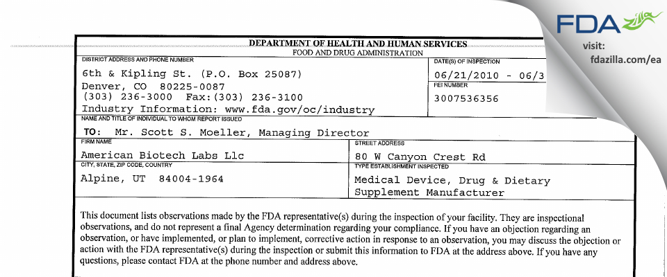 ABL Medical FDA inspection 483 Jun 2010