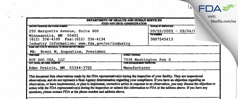 Hot Dog USA FDA inspection 483 Sep 2009
