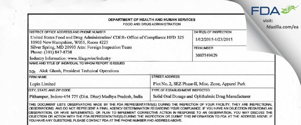 Lupin FDA inspection 483 Jan 2015