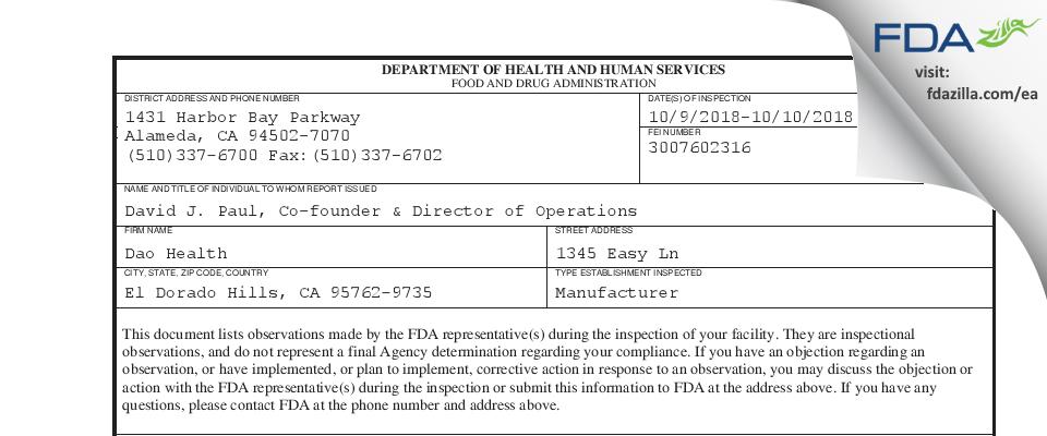 Dao Health FDA inspection 483 Oct 2018
