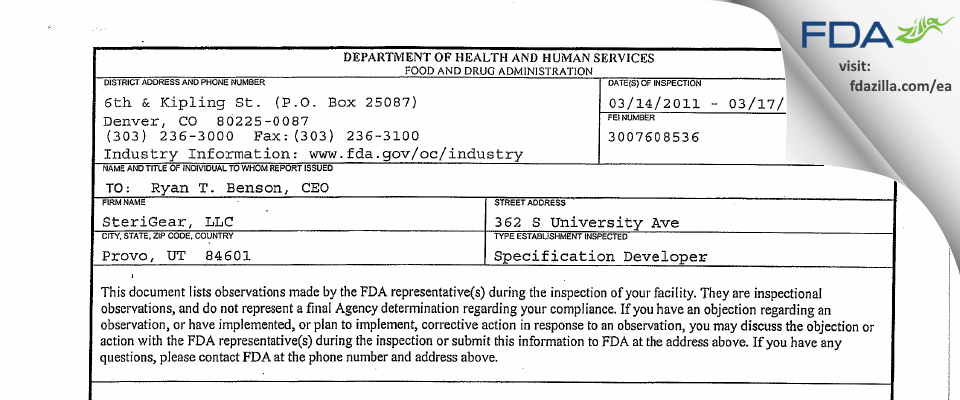 SteriGear FDA inspection 483 Mar 2011