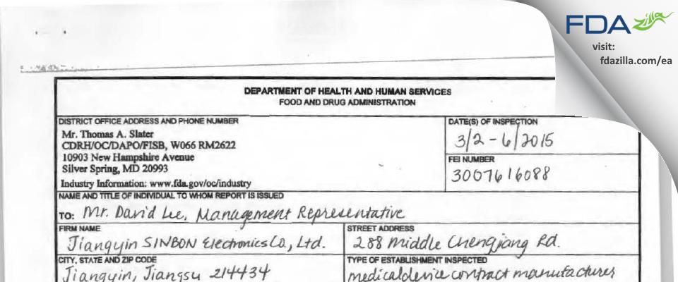 Jiangyin SINBON Electronics FDA inspection 483 Mar 2015