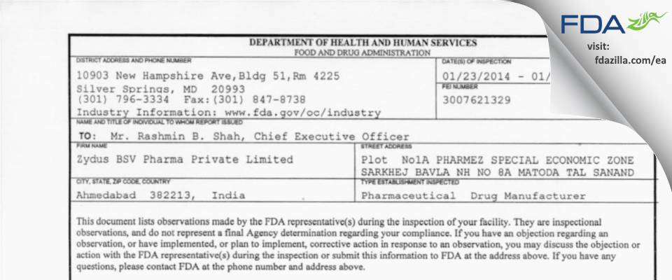 Alidac Pharmaceuticals FDA inspection 483 Jan 2014