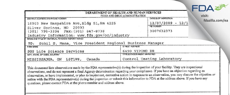 SGS Canada FDA inspection 483 Dec 2009