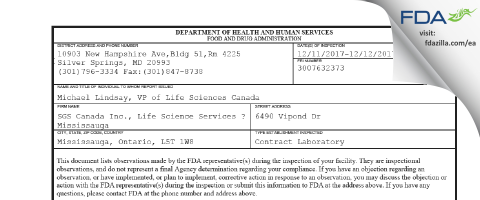 SGS Canada FDA inspection 483 Dec 2017