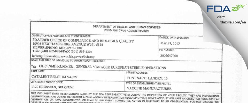 Catalent Belgium SA FDA inspection 483 May 2015