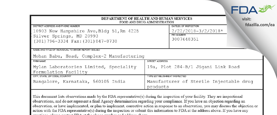 Mylan Labs Limited, Speciality Formulation Facility FDA inspection 483 Mar 2018