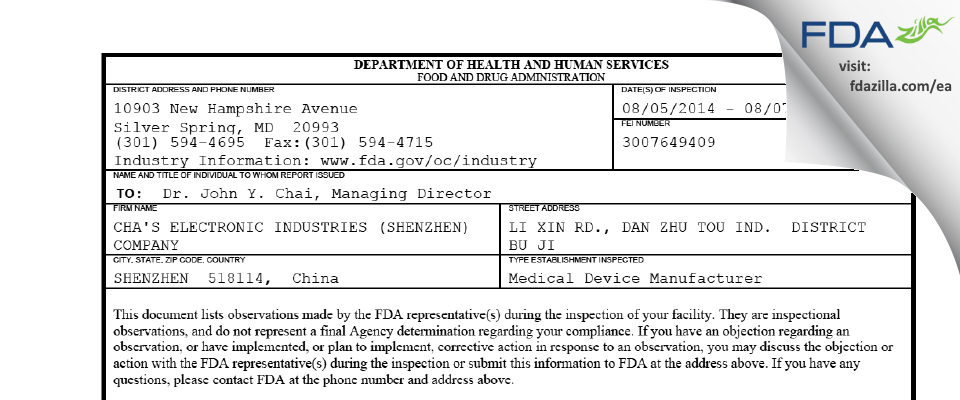 CHA'S ELECTRONIC INDUSTRIES (SHENZHEN) COMPANY FDA inspection 483 Aug 2014