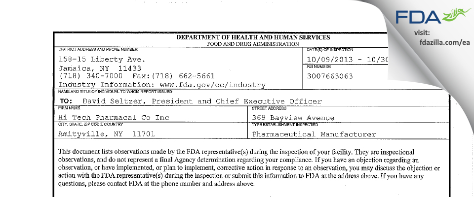 Hi-Tech Pharmacal FDA inspection 483 Oct 2013
