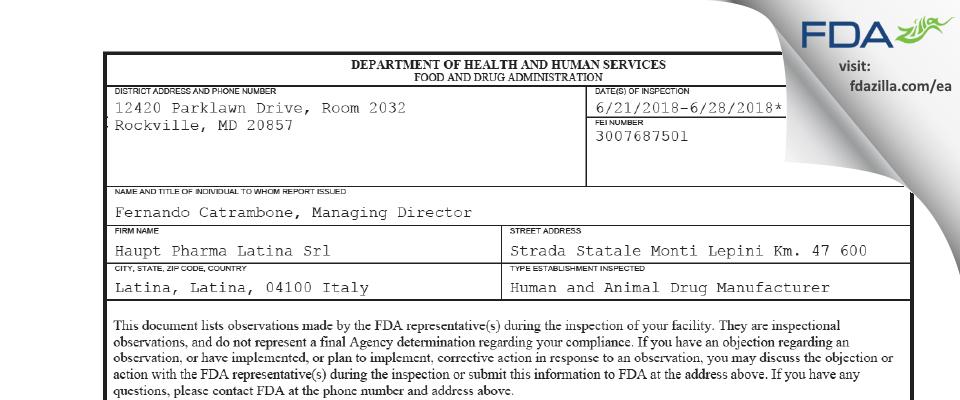 Haupt Pharma Latina Srl FDA inspection 483 Jun 2018