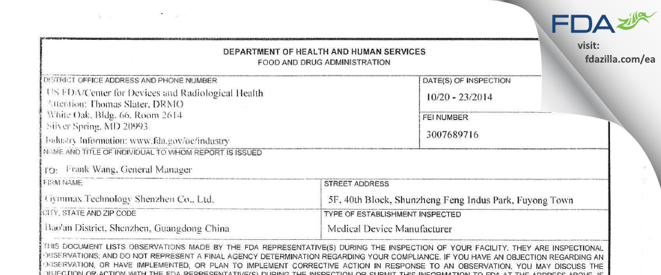 GYMMAX TECHNOLOGY SHENZHEN FDA inspection 483 Oct 2014