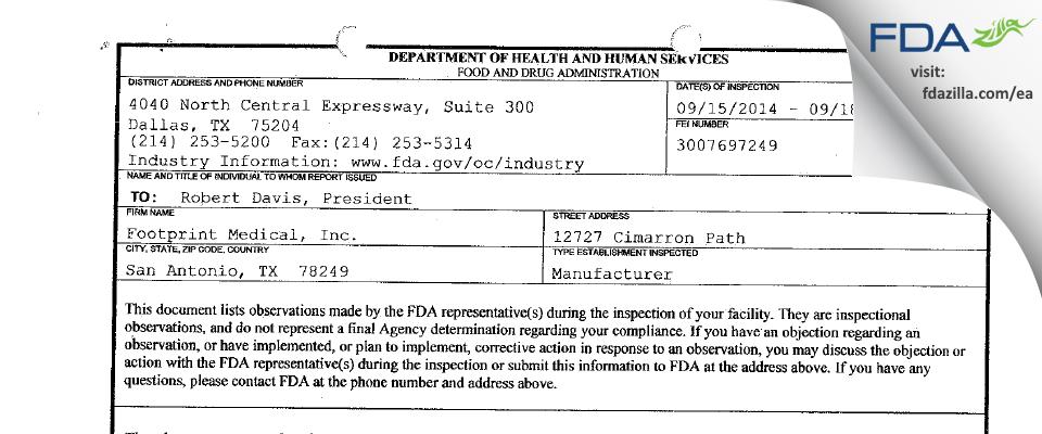 Footprint Medical FDA inspection 483 Sep 2014