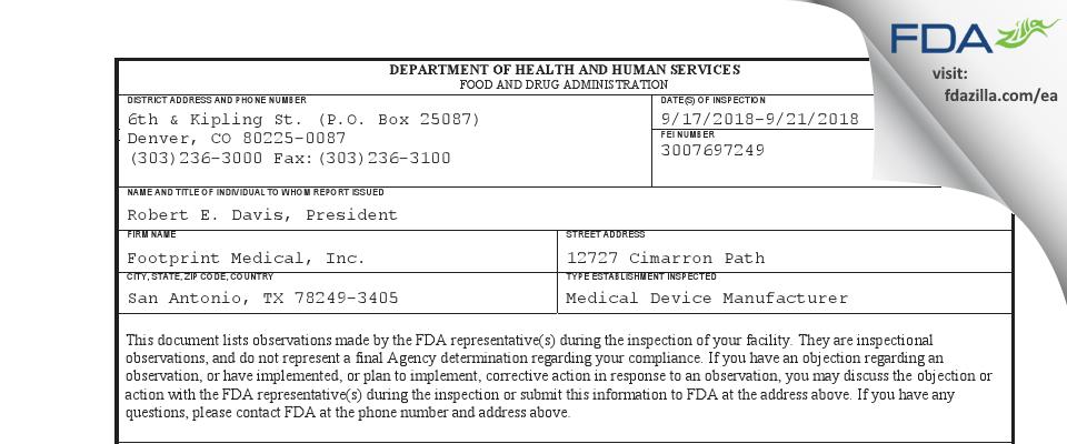 Footprint Medical FDA inspection 483 Sep 2018