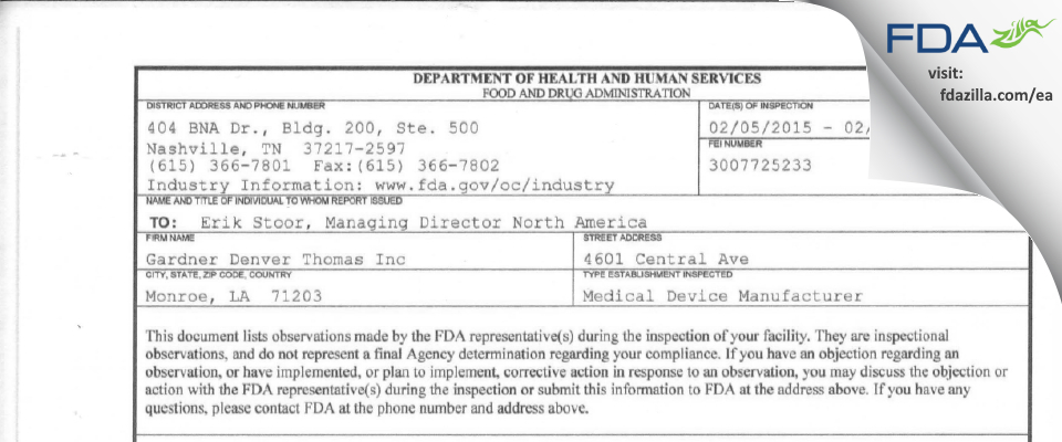 Gardner Denver Thomas FDA inspection 483 Feb 2015