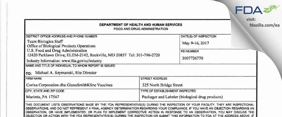 Corixa dba GlaxoSmithKline Vaccines FDA inspection 483 May 2017
