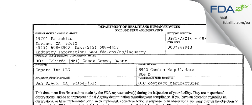 Gopers Int FDA inspection 483 Sep 2014