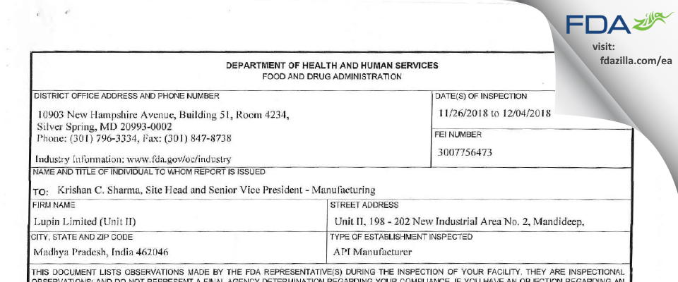 Lupin Limited (Unit II) FDA inspection 483 Dec 2018