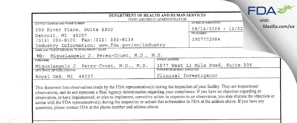 Miguelangelo J. Perez-Cruet, M.D., M.S. FDA inspection 483 Dec 2009