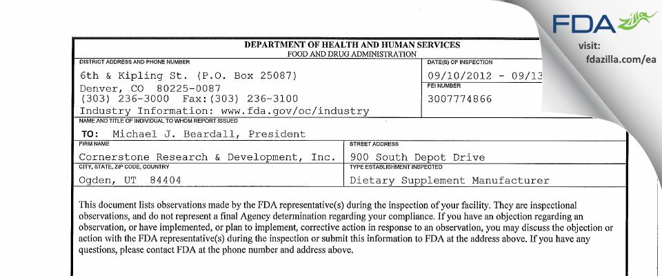Cornerstone Research and Development dba Capstone Nutrition, FDA inspection 483 Sep 2012