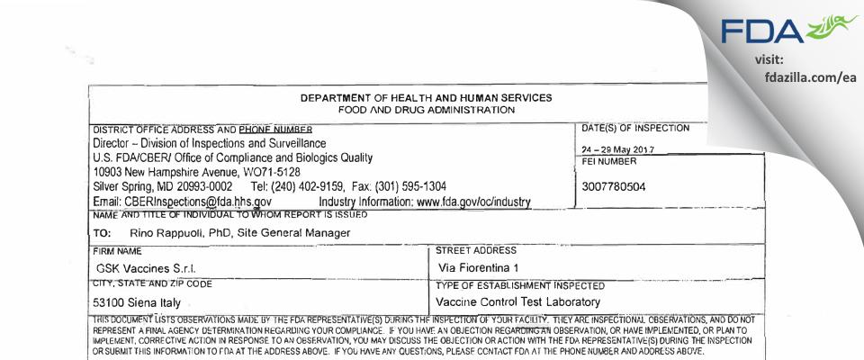 GlaxoSmithKline Vaccines S.r.l. FDA inspection 483 May 2017