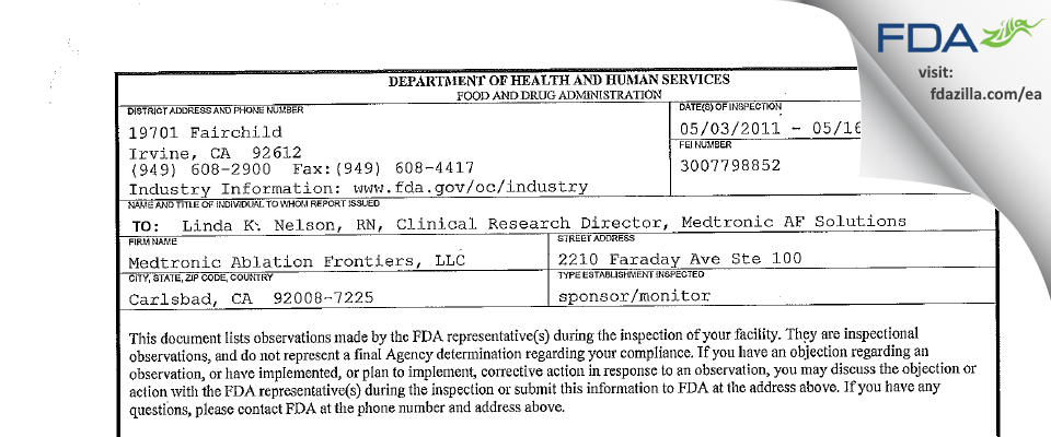 Medtronic Ablation Frontiers FDA inspection 483 May 2011
