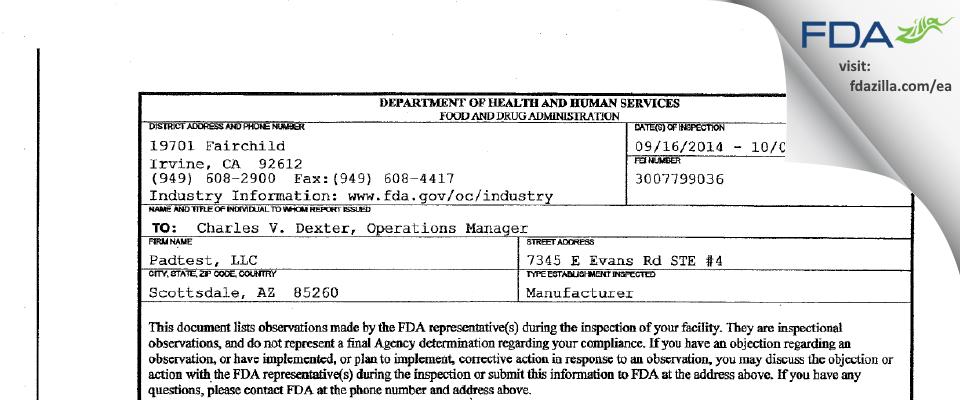 Padtest FDA inspection 483 Oct 2014