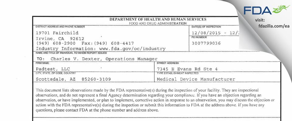 Padtest FDA inspection 483 Dec 2015