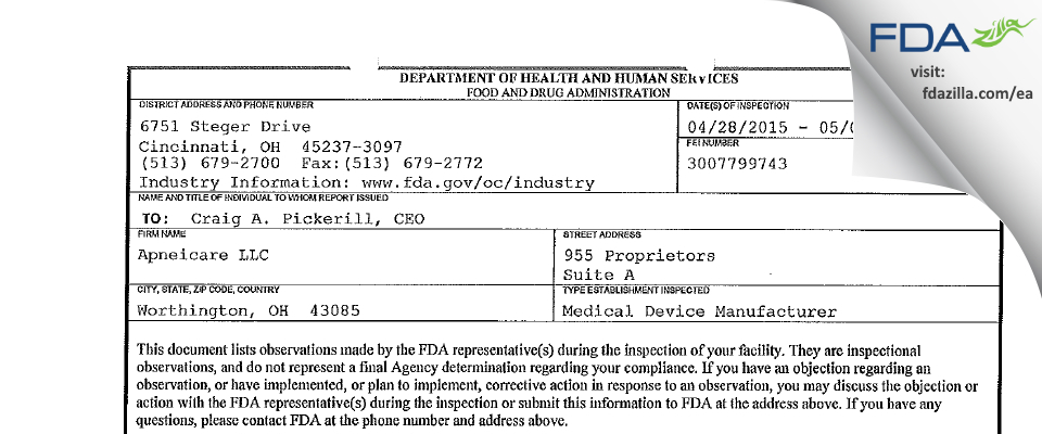 Apneicare dba Patient Safety FDA inspection 483 May 2015