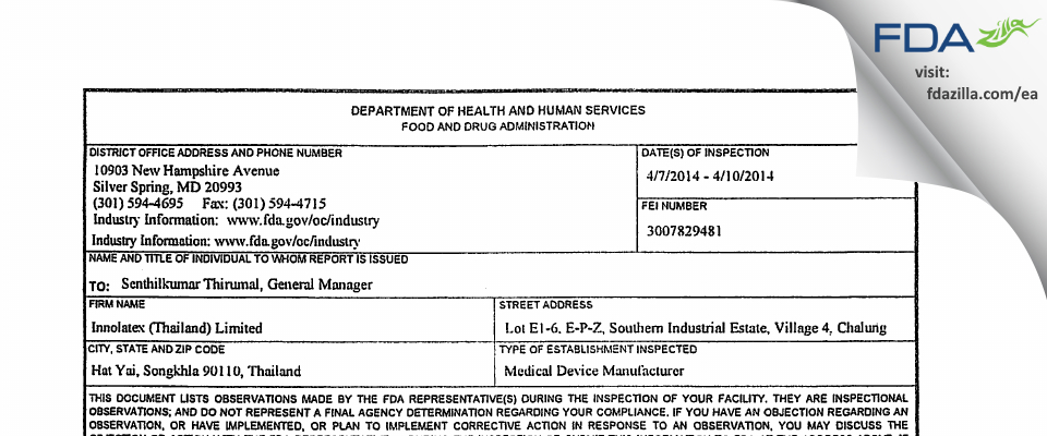 Innolatex (Thailand) FDA inspection 483 Apr 2014